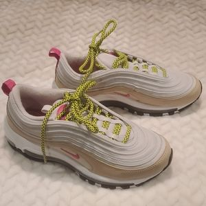 Nike Air max 97 gold pink women's running shoes